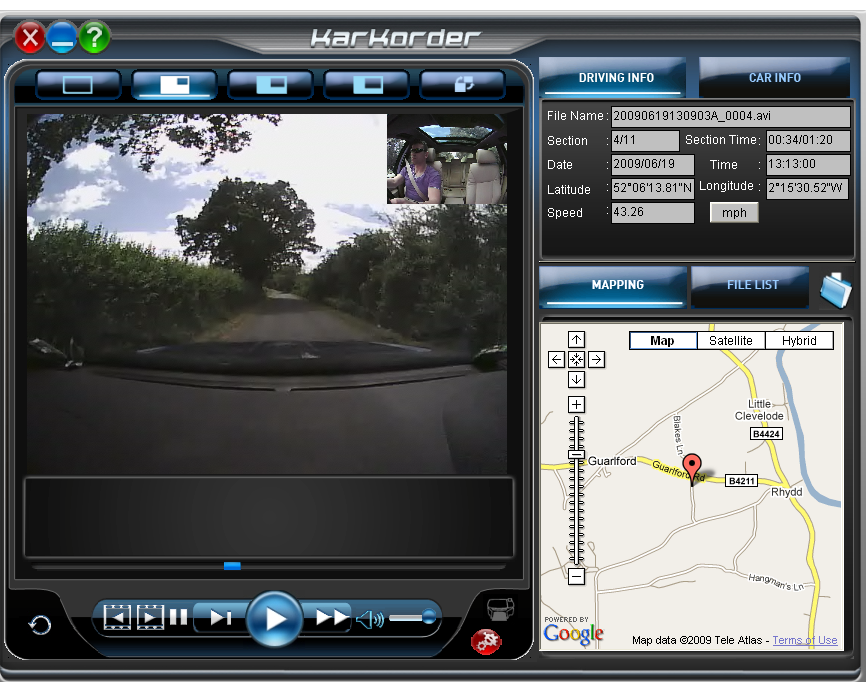 cctvX CarCorder Viewing Screen - Click here for a free download demonstration